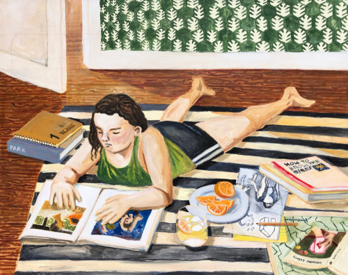 Painting is of a girl lying on her stomach on a black-and-white striped carpet, in a room with green-and-white wallpaper, patterned with interlocking in wreathes. She has  pale skin and dark hair, and is wearing a green tanktop and black shorts. She gazes down at a book with two images by the painter David Park—a woman bather and a man in a car. Beside the girl on the carpet are: a plate with orange slices, a glass with lemonade, a drawing of two dogs, a book titled