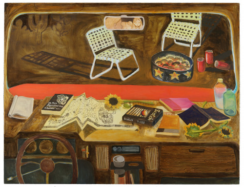 Painting of a car dashboard, strewn with books, flowers and maps. Outside the window are two folding chairs around a campfire. Two figures are caught in the rearview mirror.