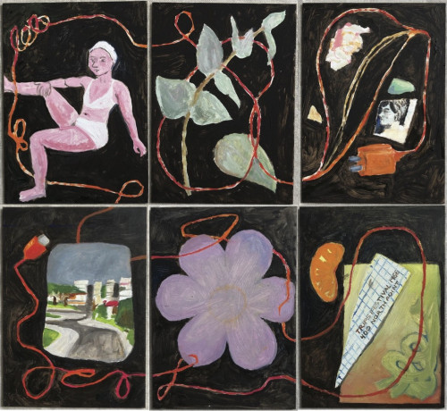 A grid of six images, connected by an orange wire. From right to left, top to bottom: a pink bather figure, a eucalyptus leaf, scraps of paper, a small landscape, a purple flower, and a paper scrap beside an orange slice.