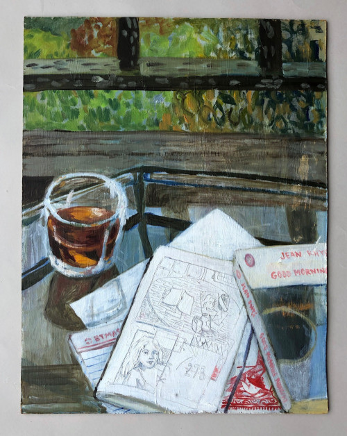 Painting is of a glass filled with a brown liquid, which glows golden in the reflected light. It sits atop a glass-topped table, next to a haphazard stack of papers and books. A notebook is splayed open to a page containing a small graphite drawing of a table and a sketch of a woman with straight long hair. A paperback book, identified as Jean Rhys's