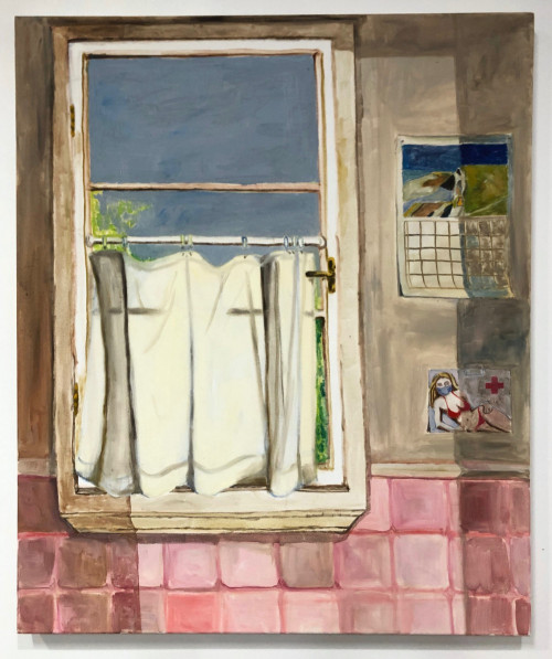 Painting depicts a large white window in a white window frame. The window is set into a white wall, with pink tile stretching from the height of the windowsill down. The bottom half of the window is obscured by a white curtain, through which the silouhette of the window frame is still visible. Throught the window we see a dark grey-blue sky and a bit of greenery. To the right of the window we see a postcard of a woman in a red bikini and a blue surgical mask. Above the postcard is a caldendar, with a rendering of a Richard Diebenkorn painting. A rectangle of light falls across the middle of the painting, as if projected from a doorway behind the viewer.